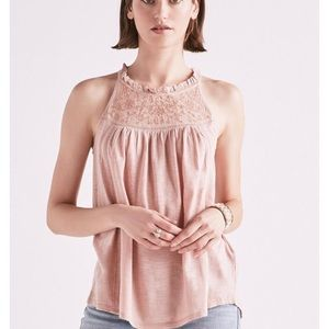 NWT Lucky Brand embroidered time halter tank top